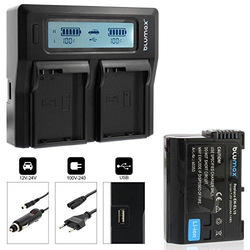 Blumax Akku EN-EL15 2000mAh + Doppelladegerät EN-EL15 Dual Charger | Passend zu DSLR D7200 D750 D500 D7000 D800 D810 D810e D600 D610 D7100 D850 D7500 || 2 Akkus gleichzeitig Laden