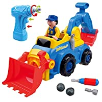 Think Gizmos Take Apart Toy For Boys & Girls TG652 - Bump and Go Construction Truck With 4 Model Options (Bulldozer, Dump Truck, Excavator, Cement Mixer) With Electric Drill - Toys For Toddlers