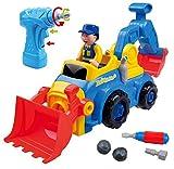 Juguete Take Apart Desmontable para Niños y Niñas TG652 – Camión de Construcción con 4 Modelos Opcionales (Camión Volquete, Excavadora, Topadora y Mezcladora de Cemento) Con Taladro Eléctrico – Juguete para Niños y Niñas de ThinkGizmos (Marca Protegida)