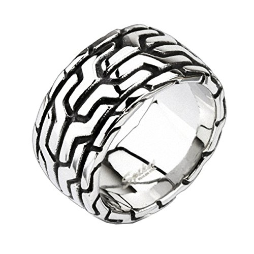 Mianova Herren Ring Edelstahl Massiv Breit Herrenring Männer Biker Rocker Schmuck Aztec Muster Design Silber Größe 65 ()