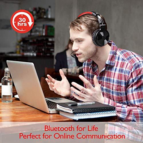 OneOdio Bluetooth Kopfhörer, Kabellos Over Ear Headset mit abnehmbare Mikrofon & Dual 50mm Treiber, 30 Stunden Spielzeit, DJ Kopfhörer (mit abnehmbare Mikrofon, Schwarz Rot) - 6