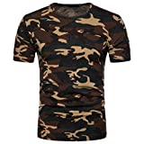 LHWY Shirt Herren, Männer Casual Kurzärmeliges Druck Tops T-Shirt Pullover Rundhals Sport Training Fitness Bekleidung Sommer Mode Freizeit Streetwear Camouflage Bluse (L, Braun)