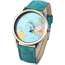Leopard Shop Quartz Wristwatch World Map Dial Leather Band Green