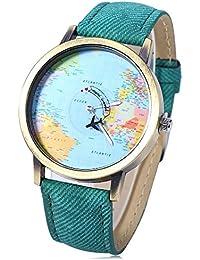 fb40d64a77a6 Leopard Shop - Reloj de Pulsera de Cuarzo con Esfera de mapamundi (Correa  de Piel