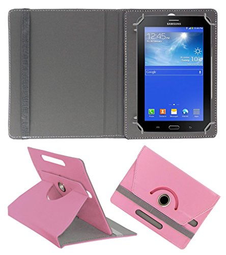 ACM ROTATING 360° LEATHER FLIP CASE FOR SAMSUNG GALAXY TAB 3 T111 NEO TABLET TABLET STAND COVER HOLDER LIGHT PINK  available at amazon for Rs.149