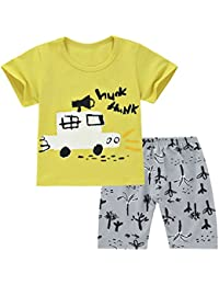 0865e204ab6b chicnchic Baby Girls Boys Cotton Clothes Sets Cartoon t-Shirts and Shorts  Summer Outfits (