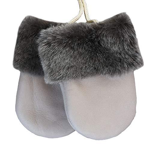 SamWo Chauffe-reins, gants en laine d'agneau véritable bébé, VANEZZA Parure de lit Produit naturel, pour les enfants de 0-1 1/2 ans, Couleur : Naturel