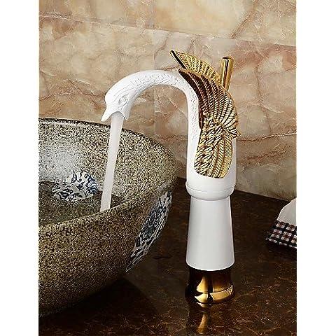 Xxw Grifos De Baño Lavabo De Colada Mezclador De La Forma Del Cuerpo Cuenca Baño Cisne De Cerámica Contemporánea (Altura) - Oro +
