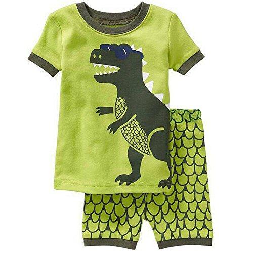 Wenig Jungen Pyjama-Sets Kurzarm Dinosaurier Kinder Pjs Kinder 2 Stück Nachtwäsche Größe 7 Jahre 100% Baumwolle (2 Stück Jungen Pjs)