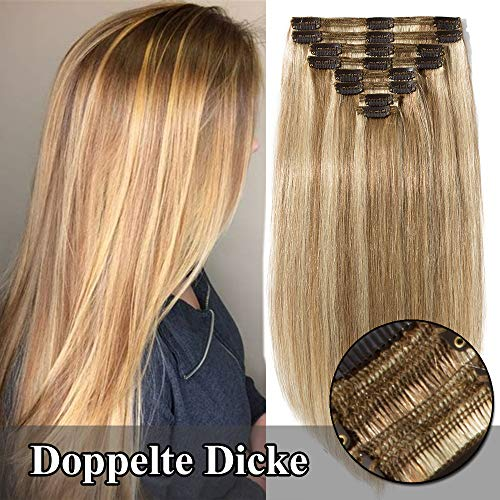 TESS Echthaar Extensions Clip in guenstig Haarverlängerung Doppelt Tressen für komplette Haarextension 8 Teile 18 Clips Glatt 7A Dick Hair (25cm-110g, 12/613 Hellbraun/Hell-Lichtblond) - 10-zoll-haar-bürste