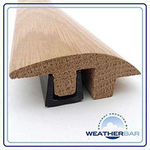 Solid Unfinished Oak Height Adjustable Semi Ramp Flooring Profile, Threshold Cover Strip, Door Bar, Suitable for 15-18mm Floors
