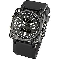 INFANTRY® Mens Analogue - Digital Wrist Watch Chronograph Black Sport Stopwatch Rubber Strap
