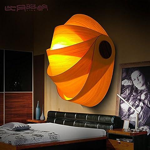 BBSLT Sud-est asiatico camera da letto salotto moderno minimalista personalità creative Hall impiallacciatura lampada da parete 200 * 300mm