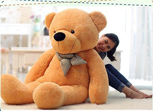 VERCART Teddybär Schönes Geschenk Plüschbär Riesen Gentleman Plüsch Bär Puppe Hellbraun XXL 130CM