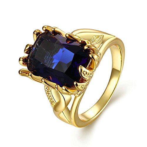 Gnzoe Schmuck Quadrat Kristall Gold Damen Solitärring Verlobungsringe Ringe Gold Gr.57 - Ring Leader Kostüm