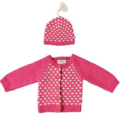 bebobio–Cardigan und Mütze Mädchen aus Baby Alpaka Farbe Fuchsia