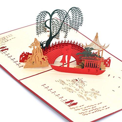 Medigy 3D POP UP Grußkarte Handgemacht Blume Korbp Kleine Brücke & fließendes Wasser Blanko-Karten Segen Papier Klappkarten Business Geschenkkarte Glückwunschkarten (Baby-segen-einladungen)