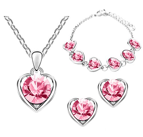 Mianova Damen 3 teiliges Set Silber in Herz Form mit runden Swarovski Elements Kristallen - Ohrringe Armband und Kette Pink