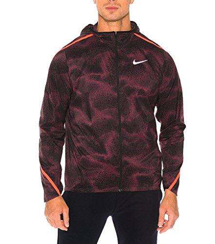 Nike M Nk Shld Imp Lt Jkt Hd Pr-Chaqueta da uomo Morado (Night Maroon / Bright Crimson / Negro)