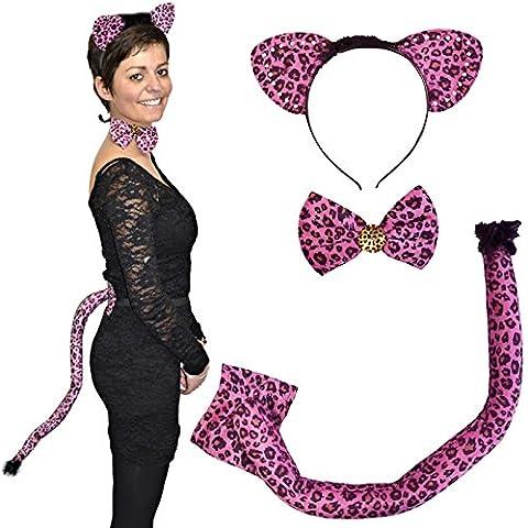 German Trendseller® accessoire panthère rose ┃3 pcs ┃serre-tête, noeud, queue ┃set costume┃ carnaval┃ déguisement