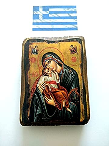 Wooden Greek Christian Orthodox Wood Icon of Virgin Mary ans