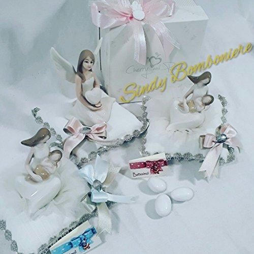 Bomboniere Cherry & Peach Linie Süße Cuscino con statuina di madre seduta con bimbo (dimensione 11x12cm circa) con fiocchetto rosa e panna