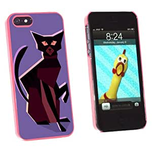 Graphics and More Geometric Cat Dark Brown - Snap-On Hard Protective Case for Apple iPhone 5/5s - Non-Retail Packaging - Pink