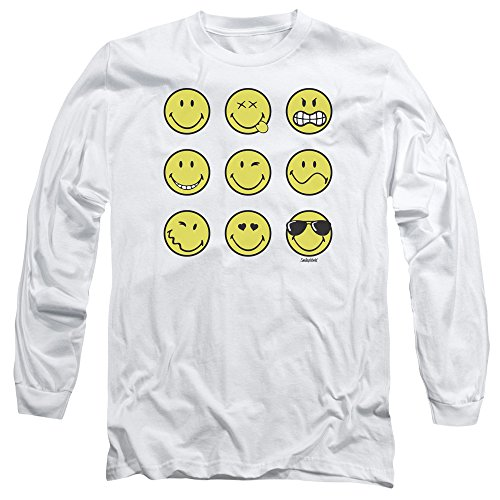 Smiley World Herren Langarmshirt Weiß