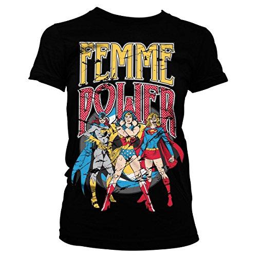 T Woman Shirt Wonder Kostüme Mädchen (Offiziell Lizenzprodukt Femme Power Damen Tee (Schwarz),)