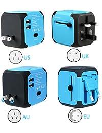 Adaptador de viaje internacional Adaptador y cargador todo-en-uno viaje del mundo es adaptador de corriente universal,con doble USB y Seguridad de Fusibles para los enchufes de pared de Estados Unidos Inglaterra Australia Europa - (Azul)