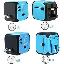 Adaptador Enchufe, Adaptador Viaje Enchufe Universal y cargador todo-en-uno viaje del mundo es adaptador de corriente universal,con doble USB y Seguridad de Fusibles para los enchufes de pared de Estados Unidos Inglaterra Australia Europa - (Azul)