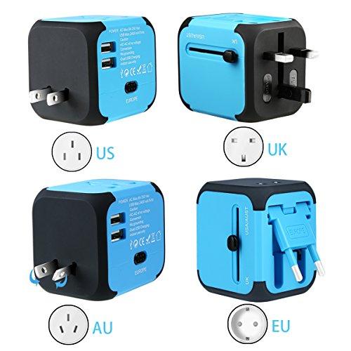 Foto de Adaptador Enchufe, Adaptador Viaje Enchufe Universal y cargador todo-en-uno viaje del mundo es adaptador de corriente universal,con doble USB y Seguridad de Fusibles para los enchufes de pared de Estados Unidos Inglaterra Australia Europa - (Azul)