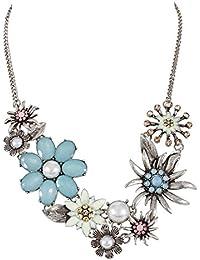 """SIX """"Oktoberfest"""" Damen Halskette, silberne Blumen Statement Kette mit blau-rosa Steinen, Dirndl Schmuck Wiesn (388-103)"""