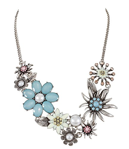 Minnie Kostüm Büro Mouse - SIX Statementkette: Wundervolle Halskette in Silber, mit Edelweiß-Blumen und weißen Kunstperlen, für jeden Anlass, hellblau/rosa/gelb (388-103)