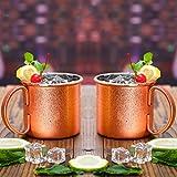 HUAYIN Moscow Mule Mugs Kupfer Becher - 2 Kupfertassen- Gehämmert und handgefertigt - 450ML Fassungsvermögen - Großartig für jedes gekühlte Getränk - Perfektes Geschenk (450ML)