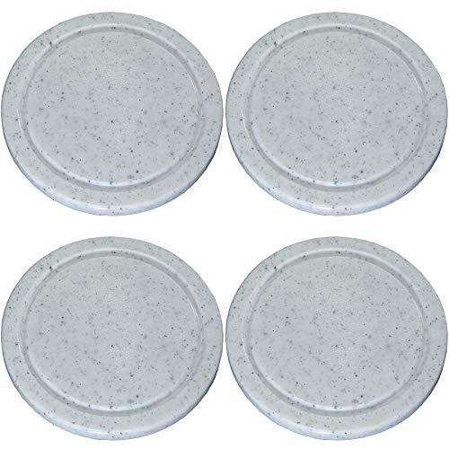 4er Set Vesperteller Kunststoff mit Rille, grau-meliert, rund 24cm, Fleischteller, Schneidebrett, Kunststoffteller, Servierteller, Küchenteller,