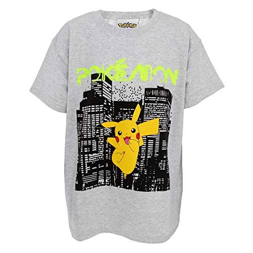 Pokemon Kinder Neon City T-Shirt (12-13 Jahre (152)) (Grau) -