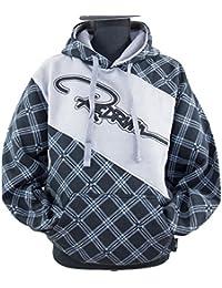 REDRUM Hoodie Hoody Kapuzenpullover Baumwolle schwarz grau kariert Streetwear Danger