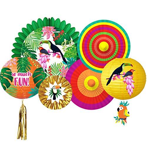 Tropical Party Dekorationen Hawaiian Aloha Jungle Fiesta Stil Sittich Papierlaterne Fan Dekoration für Luau Hawaiian Beach Pool Sommer Hochzeit Brautdusche Party Decor Supplies ()