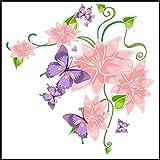 Fliesenaufkleber Fliesentattoos für Bad & Küche - NUR FÜR WEIßE FLIESEN - weißes Viereck als Hintergrund - Küchenfliesen für einzelne Fließen 10x10 cm - ME018 - Schön Blumen