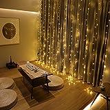 300er Led Lichtervorhang 3 x 3 M Lichterkette Strombetrieb Deko für Innen Außen Garten Party Hochzeit gresonic (300 Led Warmweiß, Timer)