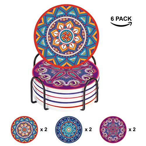 Elabo Getränkeuntersetzer - feuchtigkeitsabsorbierende Steinuntersetzer mit Korkboden - inklusive Halter - Steinuntersetzer Sets geeignet für Tassen und Tassen, 6er-Set