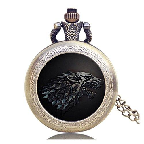 """Game of Thrones Quarz-Taschenuhr mit Logo \""""Haus Stark\"""" für Herren in Retro-/Vintage-Stil, mit Antikbronze-Effekt und 80 cm langer Halskette"""
