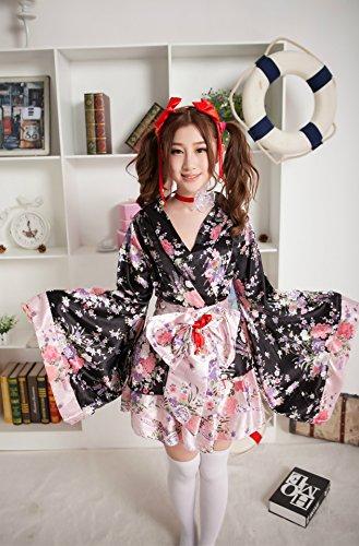 DLucc Kleidfrauen Anime Kostüm cosplay Kimono -Stil Loro Rita Dienstmädchen-Outfit doppelte Kirschen (Super Frau Outfits)