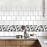 QJONKE Blanco Y Negro Con Pegatinas De Azulejo Pegatinas De Pared Inicio Dormitorio Pegatinas De Decoración De Cocina Dormitorio