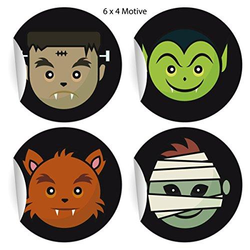 loween Aufkleber mit kleinen Monstern, schwarz, MATTE Papieraufkleber auch für Geschenke, Etiketten für Tischdeko, Pakete, Briefe und mehr (ø 45mm; 4 Motive) (Kleinen 5-punkte-halloween)