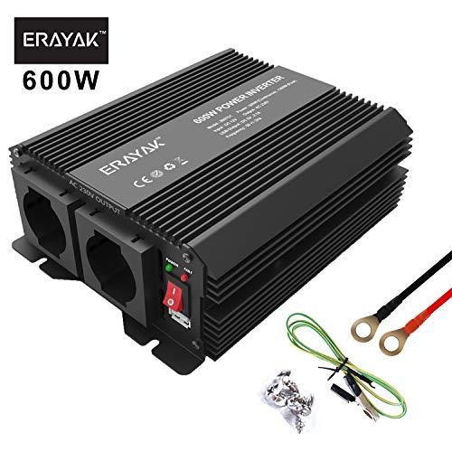 ERAYAK 600W Power Inverter per Auto DC 12V a AC 220V Invertitore Inverter di Potenza Convertitore Multipla Protezione per Auto Inverter di Tensione con Uscita USB 5V / 2.1A