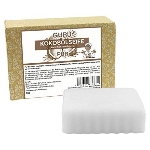 Guru Seife -Pur Coconut- natürlich & handgemachte Seife mit 100% reinem Kokosöl, 80 g