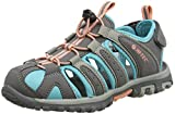 Hi-Tec Cove Junior, Sandalias de Senderismo Para Niñas, Gris (Cool Grey/Curacao Blue/Papaya Punch 055), 31 EU