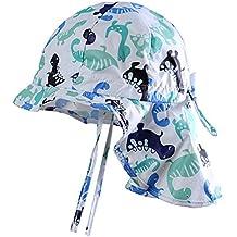 d5cfcdd83 MeekEra Sombrero de Sol para Bebé Protección Solar con Chal Suave  Transpirable Gorro de Bebés Anti